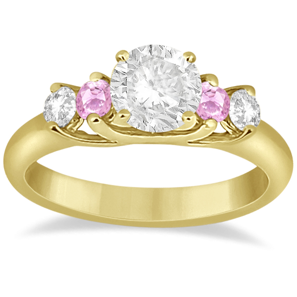 Five Stone Diamond & Pink Sapphire Engagement Ring 14k YL Gold, 0.50ct