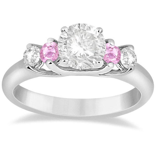 Five Stone Diamond & Pink Sapphire Engagement Ring in Platinum, 0.50ct