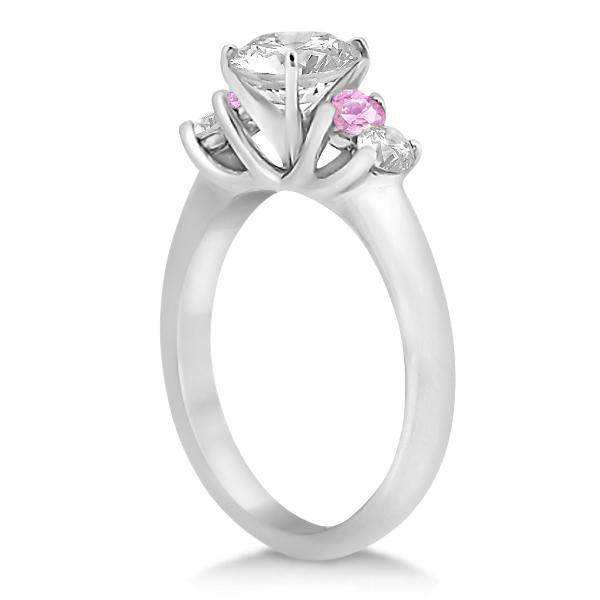 Five Stone Diamond & Pink Sapphire Bridal Ring Set 14k Wht Gold, 1.10ct