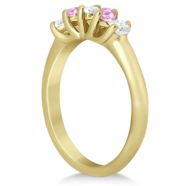 5 Stone Diamond & Pink Sapphire Bridal Ring Set 14k Yellow Gold, 1.10ct