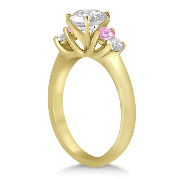 5 Stone Diamond & Pink Sapphire Bridal Ring Set 18k Yellow Gold, 1.10ct