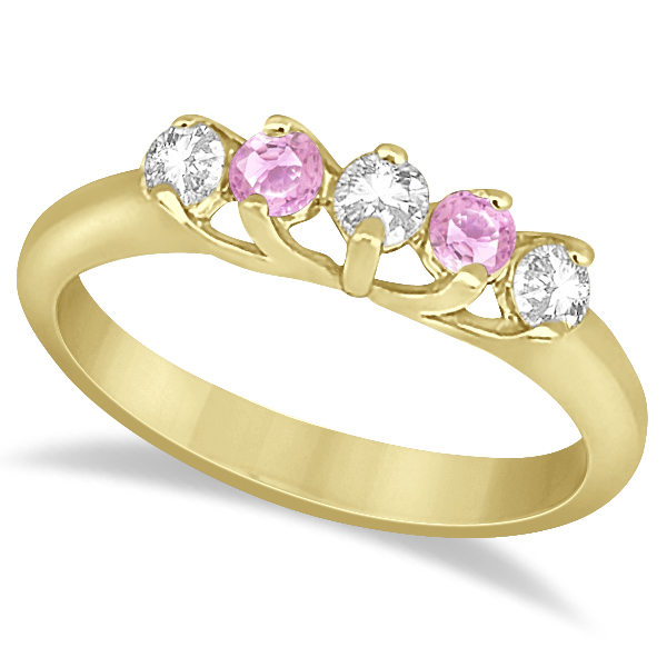 5 Stone Diamond & Pink Sapphire Bridal Ring Set 18k Yellow Gold, 1.10ct