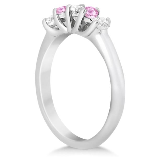 Five Stone Diamond & Pink Sapphire Wedding Band Palladium (0.60ct)