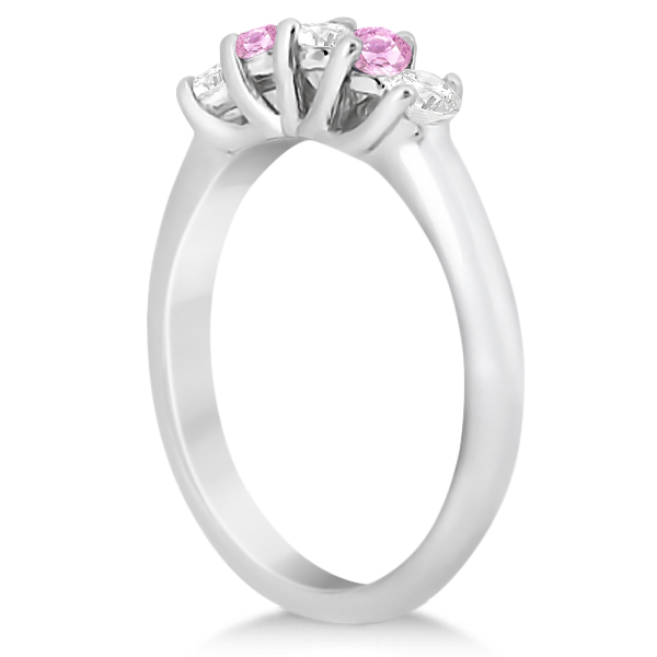 Five Stone Diamond & Pink Sapphire Wedding Band Platinum (0.60ct)