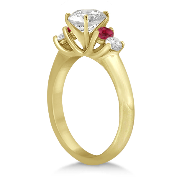 Five Stone Diamond and Ruby Engagement Ring 14k Yellow Gold (0.50ct)