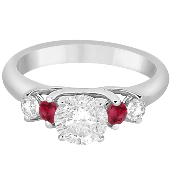 Five Stone Diamond and Ruby Engagement Ring 18k White Gold (0.50ct)