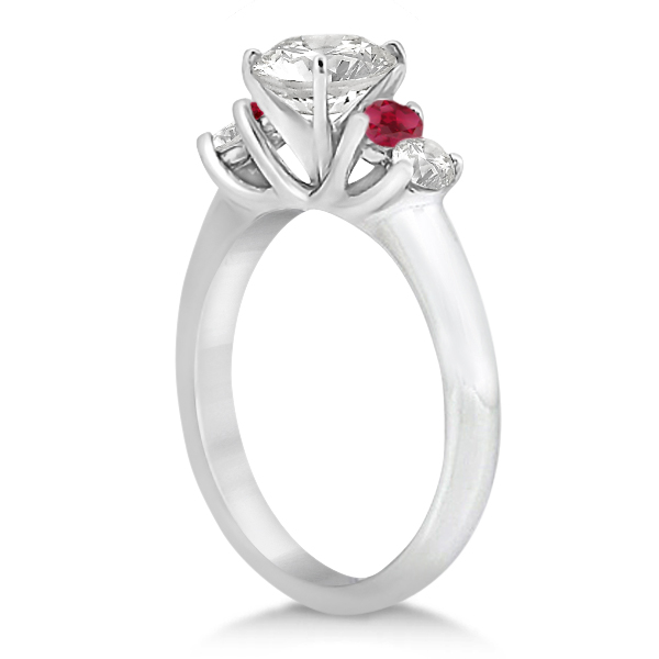 Five Stone Diamond and Ruby Engagement Ring Palladium (0.50ct)