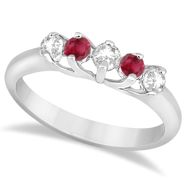 Five Stone Diamond and Ruby Bridal Ring Set 18k White Gold (1.10ct)