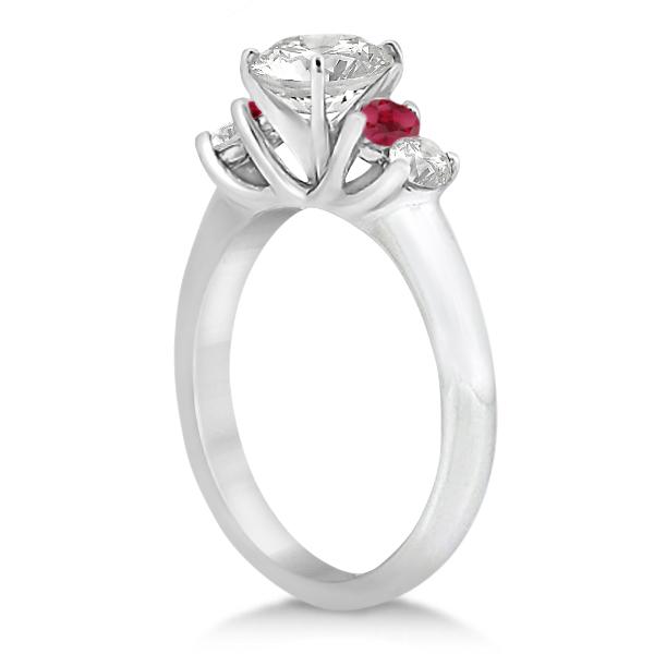 Five Stone Diamond and Ruby Bridal Ring Set Palladium (1.10ct)