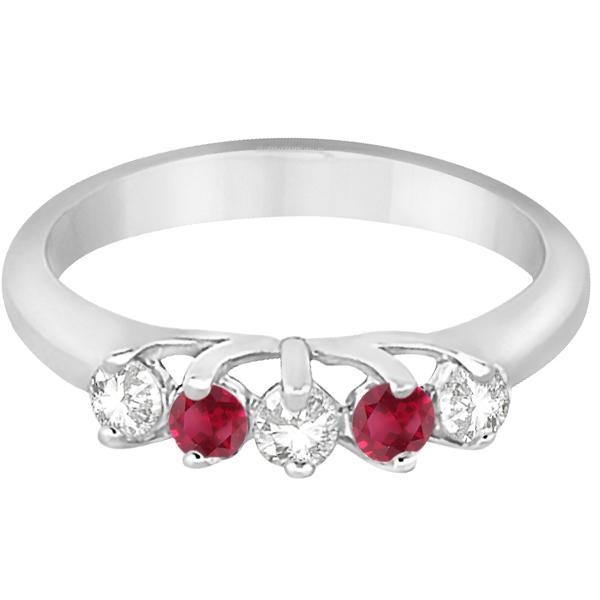 Five Stone Diamond and Ruby Wedding Band Palladium (0.60ct)
