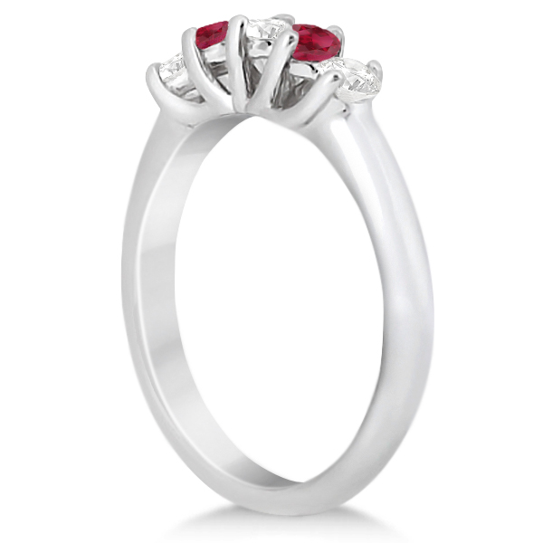 Five Stone Diamond and Ruby Wedding Band Platinum (0.60ct)