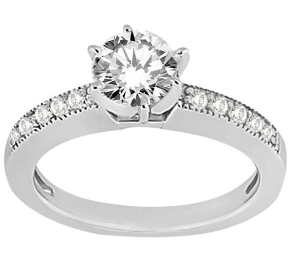 Milgrain Pave-Set Diamond Engagement Ring in Palladium (0.24 ctw)