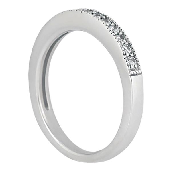 Milgrain Pave-Set Diamond Engagement Ring & Matching Band Palladium