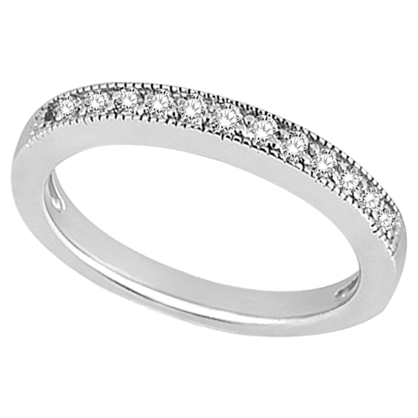 Milgrain Pave-Set Diamond Wedding Band in Palladium (0.28 ctw)