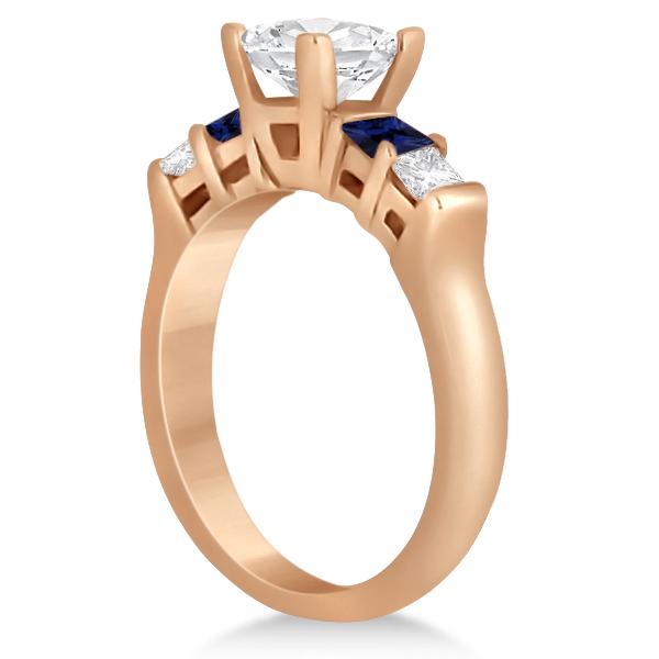 5 Stone Princess Diamond & Sapphire Engagement Ring 14K R. Gold 0.46ct