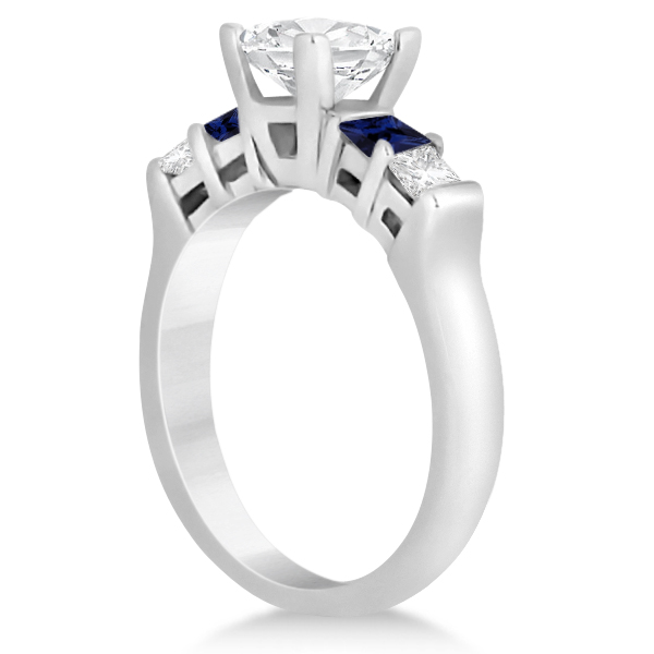 5 Stone Princess Diamond & Sapphire Engagement Ring 14K W. Gold 0.46ct
