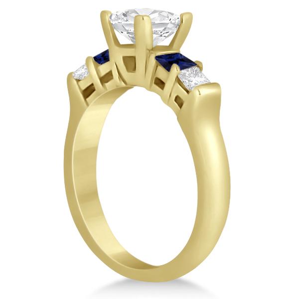 5 Stone Princess Diamond & Sapphire Engagement Ring 14K Y. Gold 0.46ct