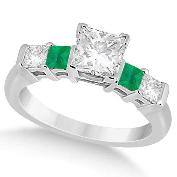 5 Stone Princess Diamond & Emerald Engagement Ring 14K W. Gold 0.46ct