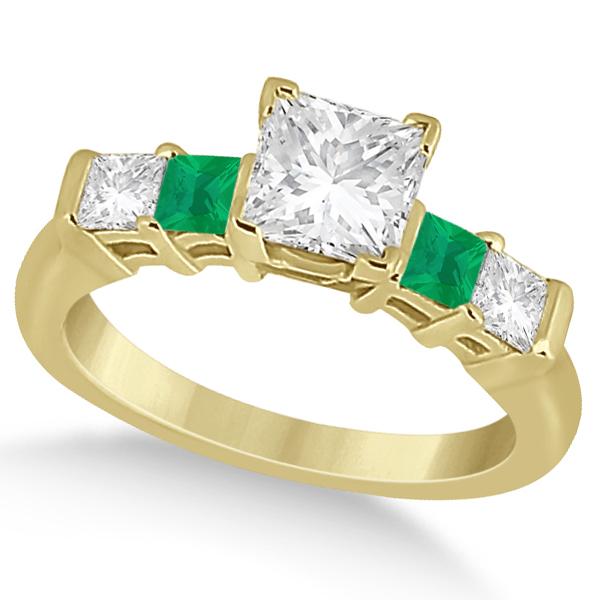 5 Stone Princess Diamond & Emerald Engagement Ring 18K Y. Gold 0.46ct