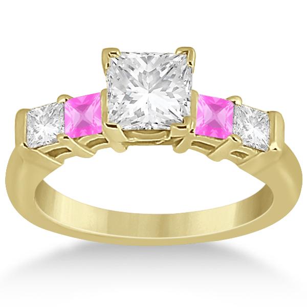 5 Stone Diamond & Pink Sapphire Engagement Ring 14K Yellow Gold 0.46ct