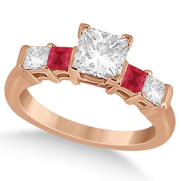 5 Stone Princess Diamond & Ruby Engagement Ring 18K Rose Gold 0.46ct