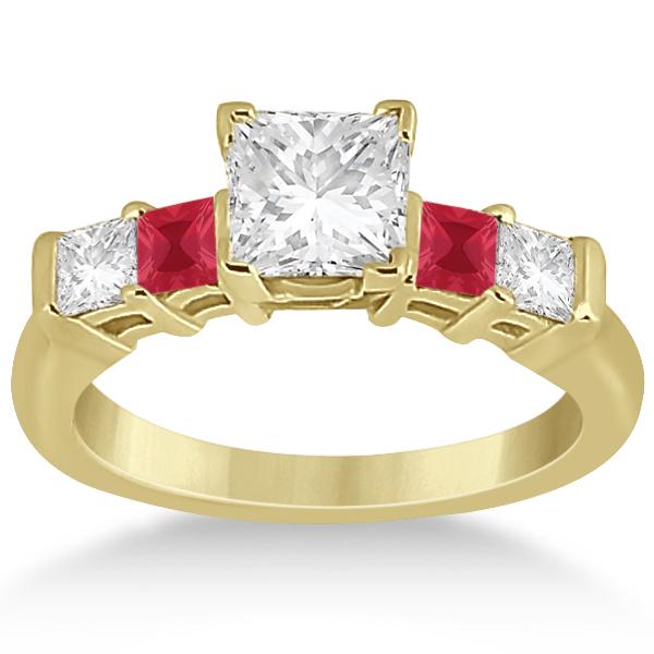 5 Stone Princess Diamond & Ruby Engagement Ring 18K Yellow Gold 0.46ct