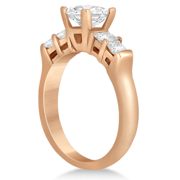 Five Stone Princess Cut Diamond Bridal Set 14K Rose Gold (0.90ct)