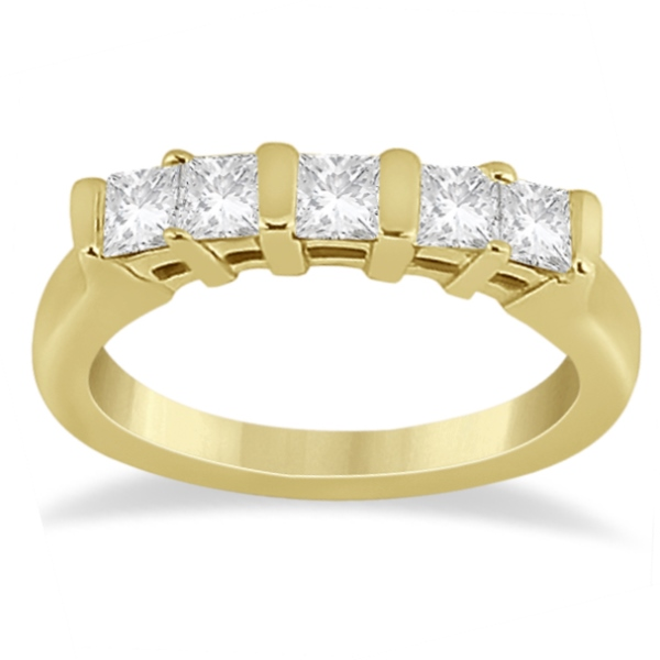 Five Stone Princess Cut Diamond Bridal Set 14K Yellow Gold (0.90ct)