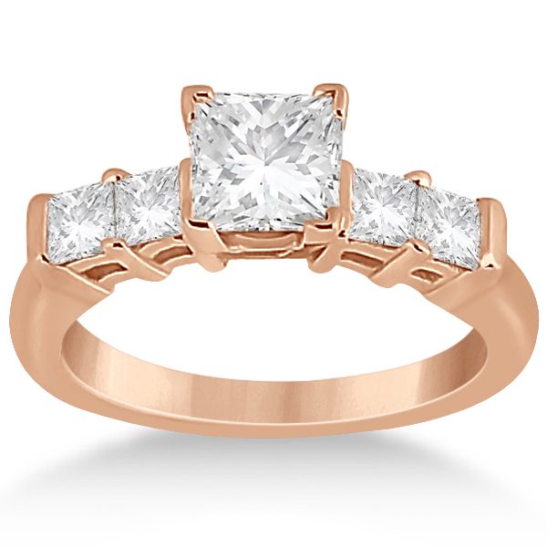 Five Stone Princess Cut Diamond Bridal Set 18k Rose Gold (0.90ct)