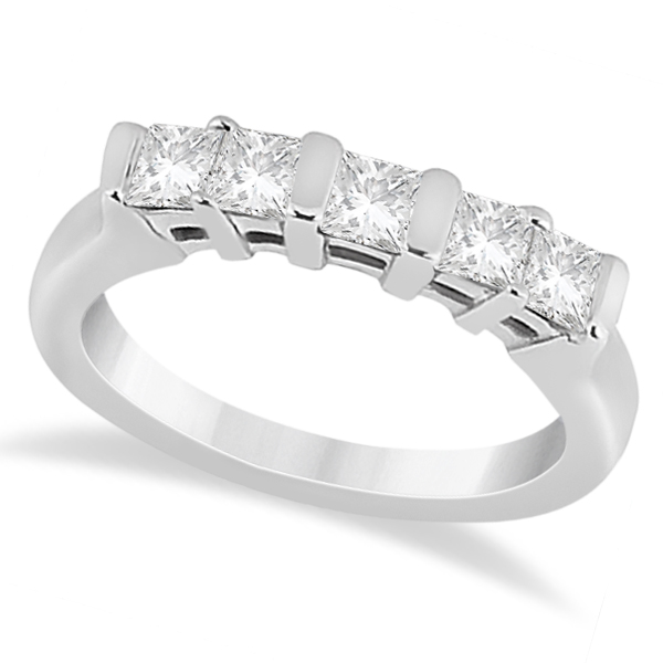 Five Stone Princess Cut Diamond Bridal Set 18k White Gold (0.90ct)