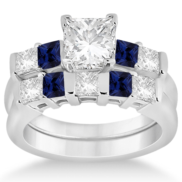 5 Stone Diamond Blue Sapphire Bridal Set 14K White Gold 102ct