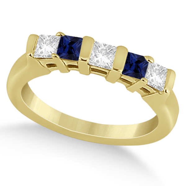 5 Stone Diamond & Blue Sapphire Bridal Set 14K Yellow Gold 1.02ct