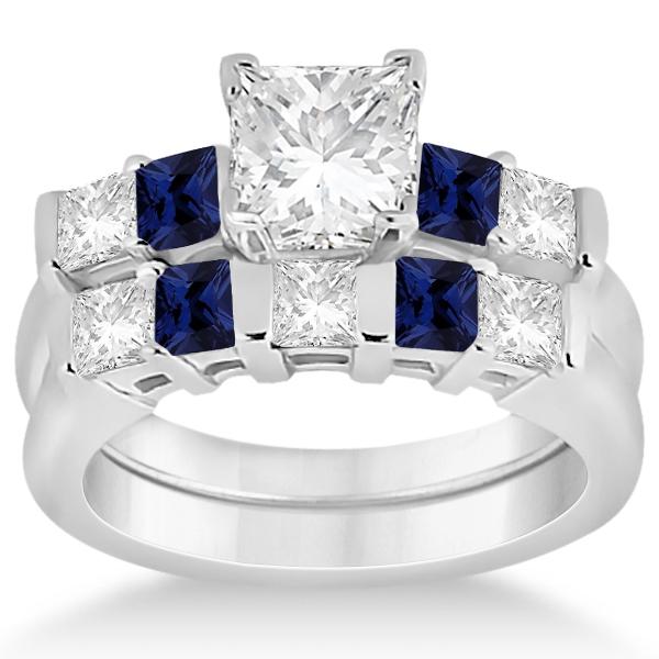 Stone Diamond Blue Sapphire Bridal Set 18k White Gold 102ct