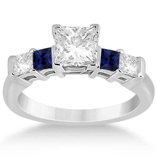 5 Stone Diamond & Blue Sapphire Bridal Set 18k White Gold 1.02ct