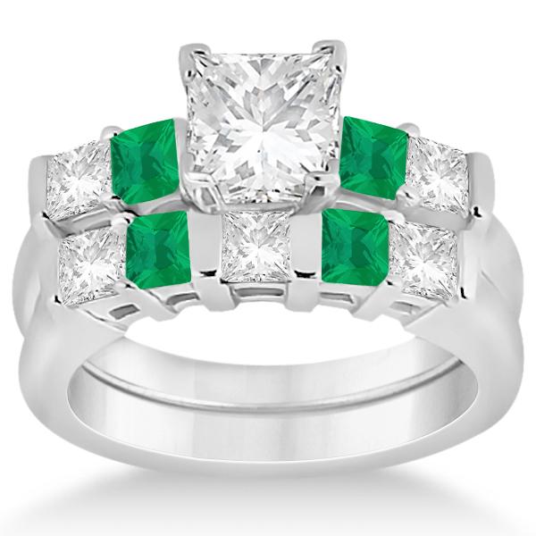 5 green emerald bridal ring set 14k white
