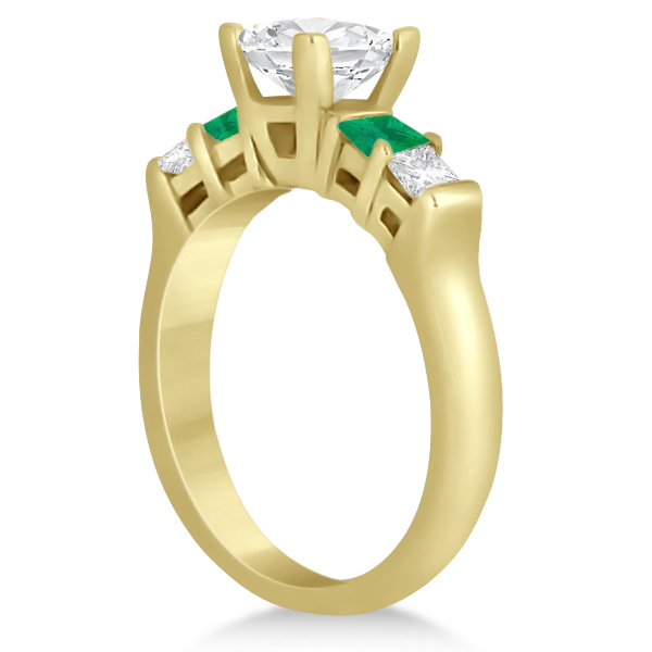 5 Stone Diamond & Green Emerald Bridal Ring Set 14K Yellow Gold 1.02ct