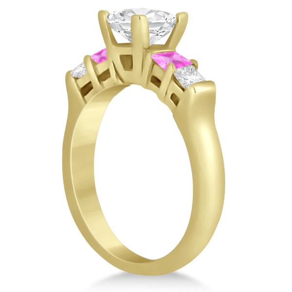 5 Stone Diamond & Pink Sapphire Bridal Set 14K Yellow Gold 1.02ct