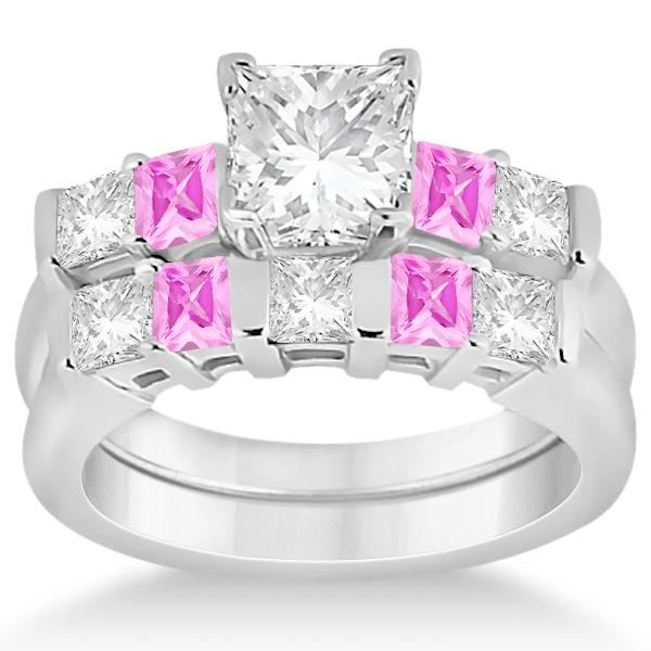 5 Stone Diamond & Pink Sapphire Bridal Set 18k White Gold 1.02ct