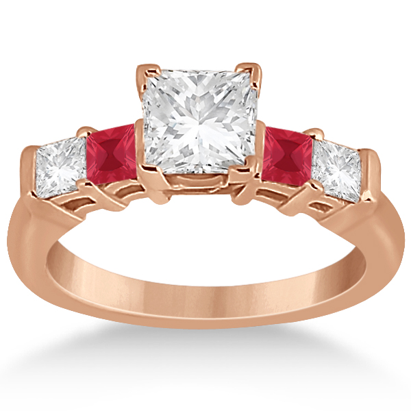 5 Stone Princess Diamond & Ruby Bridal Ring Set 14K Rose Gold 1.02ct