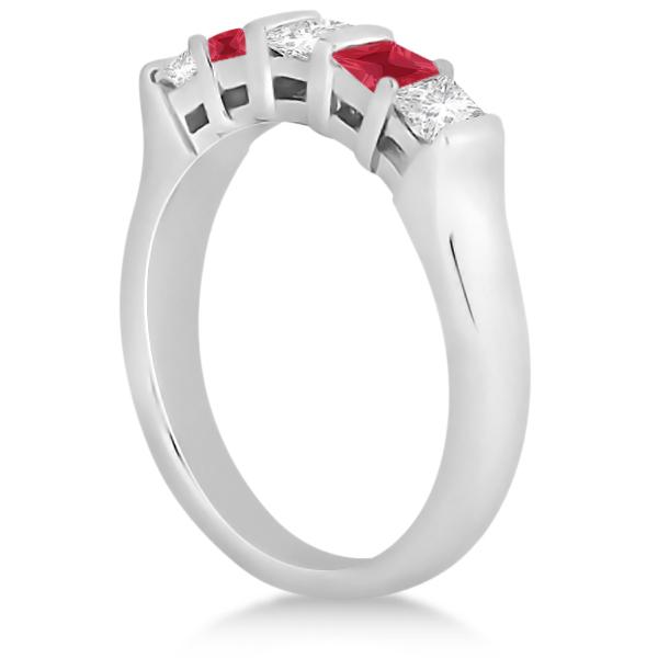 5 Stone Princess Diamond & Ruby Bridal Ring Set 14K White Gold 1.02ct
