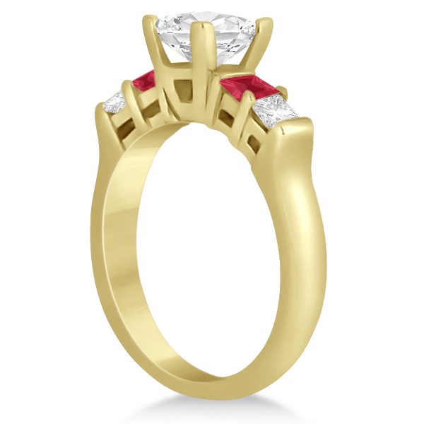 5 Stone Princess Diamond & Ruby Bridal Ring Set 14K Yellow Gold 1.02ct