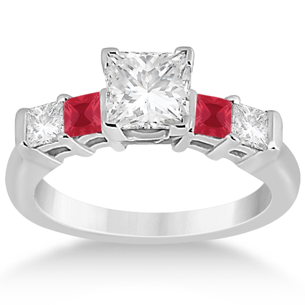 5 Stone Princess Diamond & Ruby Bridal Ring Set 18k White Gold 1.02ct