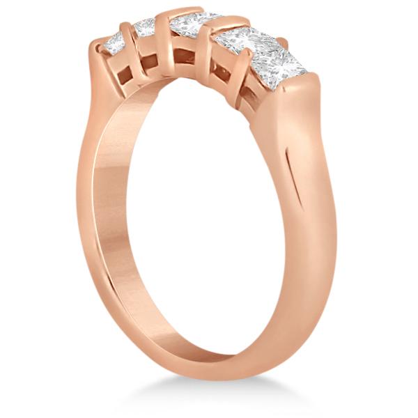 5 Stone Princess Cut Channel Set Diamond Ring 14K Rose Gold (0.50ct)