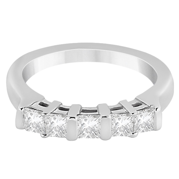 5 Stone Princess Cut Channel Set Diamond Ring 14K White Gold (0.50ct)