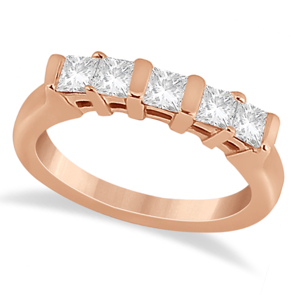5 Stone Princess Cut Channel Set Diamond Ring 18k Rose Gold (0.50ct)