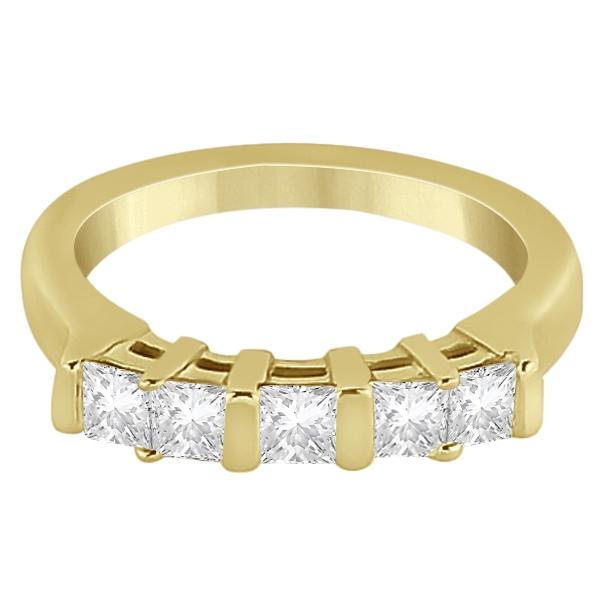 5 Stone Princess Cut Channel Set Diamond Ring 18k Yellow Gold (0.50ct)