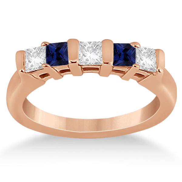 5 Stone Diamond & Blue Sapphire Princess Ring 14K Rose Gold 0.56ct