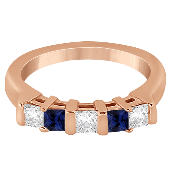 5 Stone Diamond & Blue Sapphire Princess Ring 18K Rose Gold 0.56ct