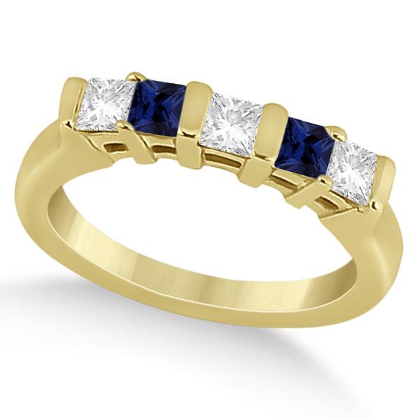 5 Stone Diamond & Blue Sapphire Princess Ring 18K Yellow Gold 0.56ct
