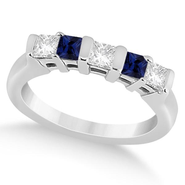 5 Stone Diamond & Blue Sapphire Princess Ring Palladium 0.56ct
